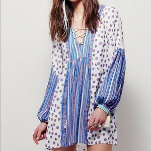 Free People Rain Or Shine White Blue Boho Dress L